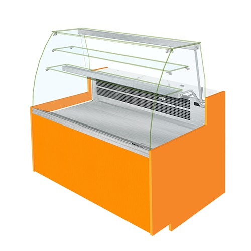 ELINE Curved Glass Serve Over Display Static Cooled With Understorage