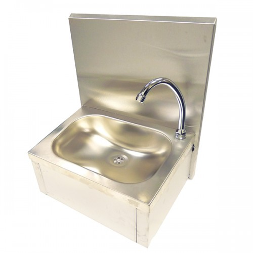 Knee operated sink supplied with mixer tap