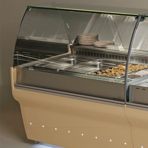 ELINE Curved Glass Serve Over Display with Containers