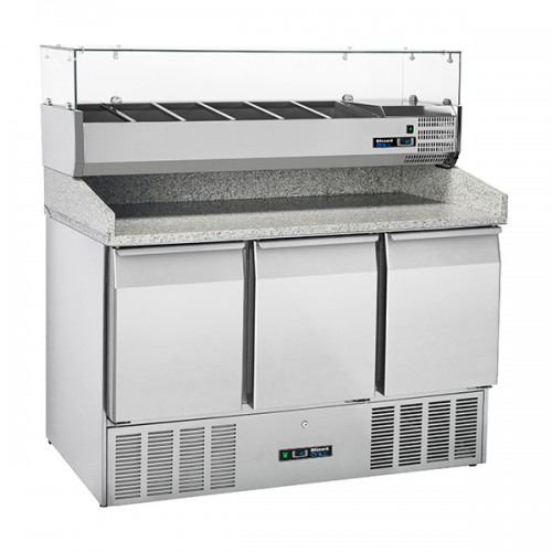 3 Door Compact Gastronorm Pizza Prep Counter 330L