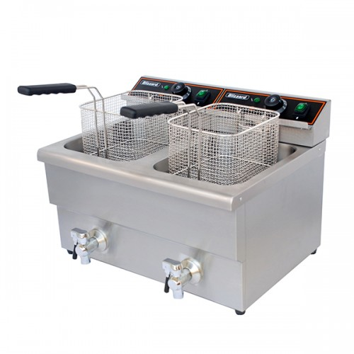 6000W Double Tank Electric Fryer with Tap 2x 8L