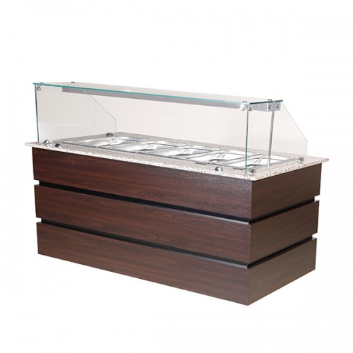 Flat Glass Heated Display Counter 5x GN1/1