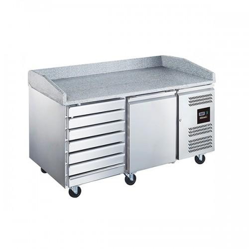 2 Dr Pizza Prep Counter with Neutral drawers 390L