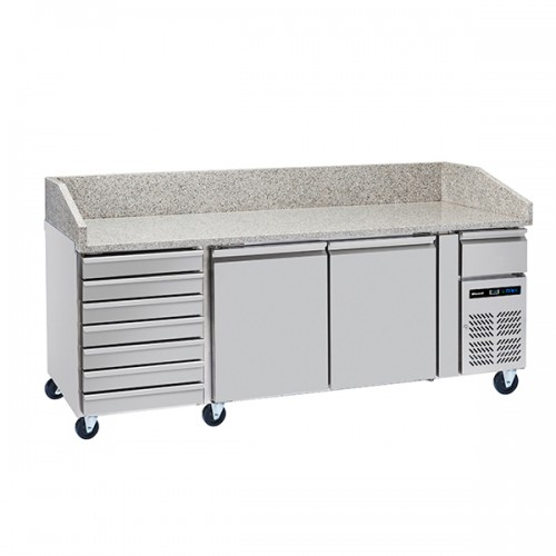 3 Door Pizza Prep Counter with Neutral drawer 428L