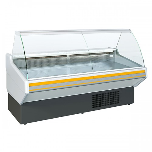 Curved Glass Serve Over Counters With Under Storage Static Cooling