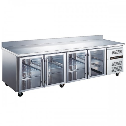 4 GLASS DOOR GN1/1 COUNTER WITH UPSTAND 553L