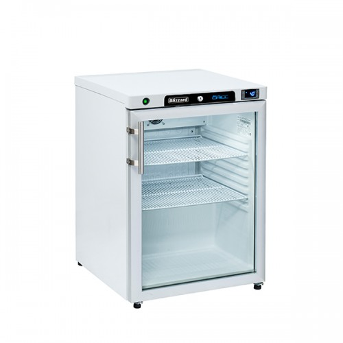 Glass Door White Under Counter Refrigerator 170L