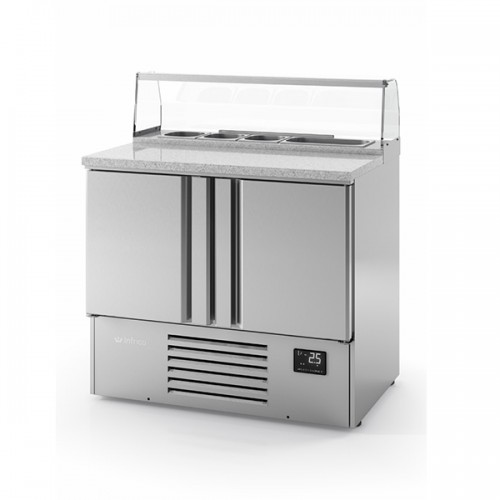 2 Door Compact Gastronorm Pizza Prep Counter 230L