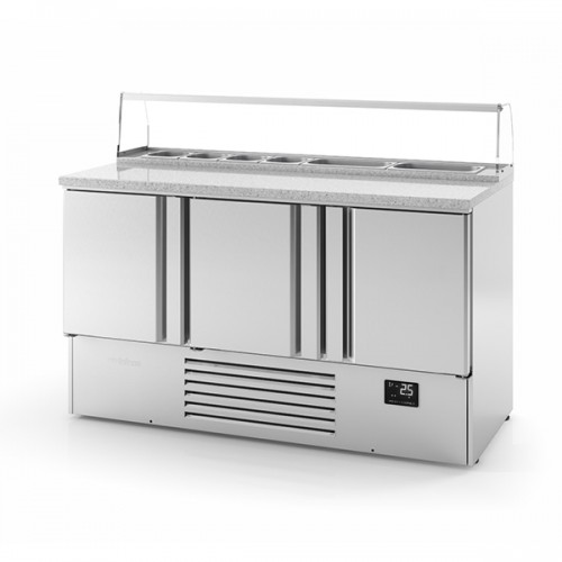 3 Door Compact Gastronorm Pizza Prep Counters 355L