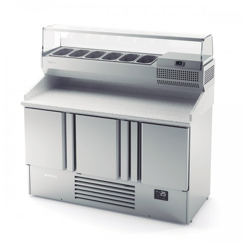 3 Door Compact Gastronorm Pizza Prep Counter 355L