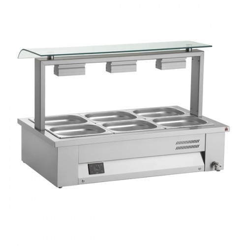 Counter Top Gastronorm Bain Marie With Single Sneeze Guard