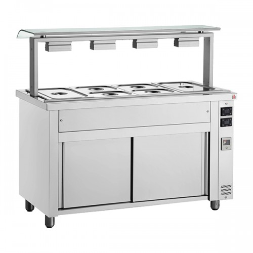 Gastronorm Bain Marie With Single Sneeze Guard & Heated Base