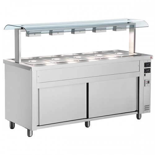 Gastronorm Bain Marie With Double Sneeze Guard & Heated Base