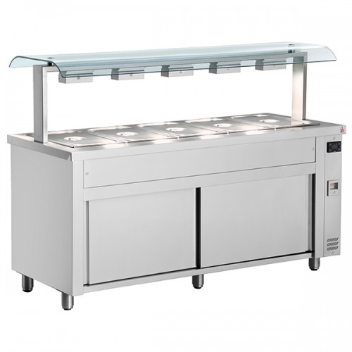 Gastronorm Bain Marie With Double Sneeze Guard & Ambient Base