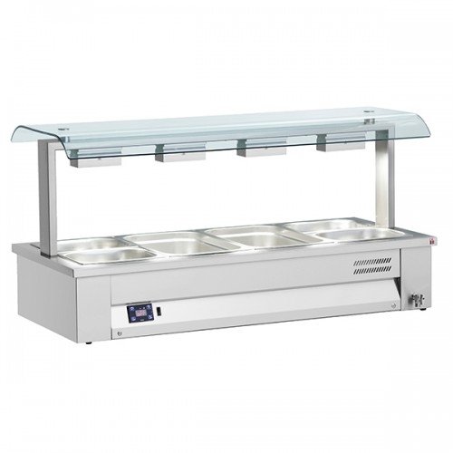 Counter Top Gastronorm Bain Marie With Double Sneeze Guard
