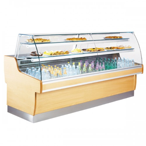 Curved Glass Serve Over Display With Under Storage