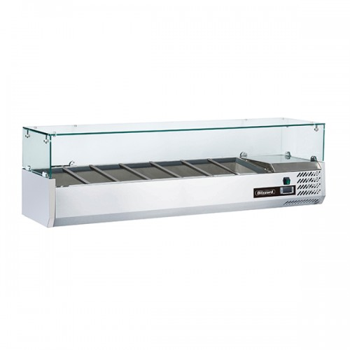 1/4 GASTRONORM PREP TOP WITH GLASS COVER 1500MM(W)