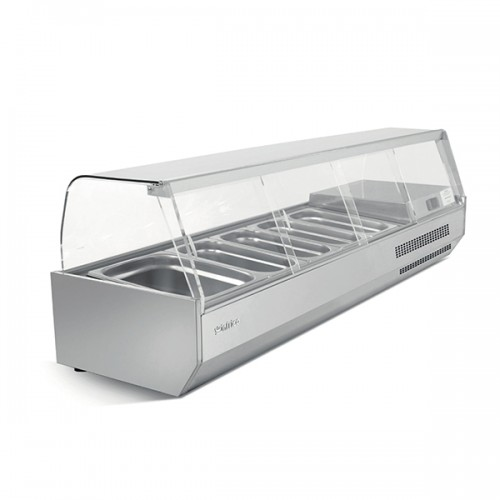 1/4 GASTRONORM PREP TOP WITH GLASS COVER